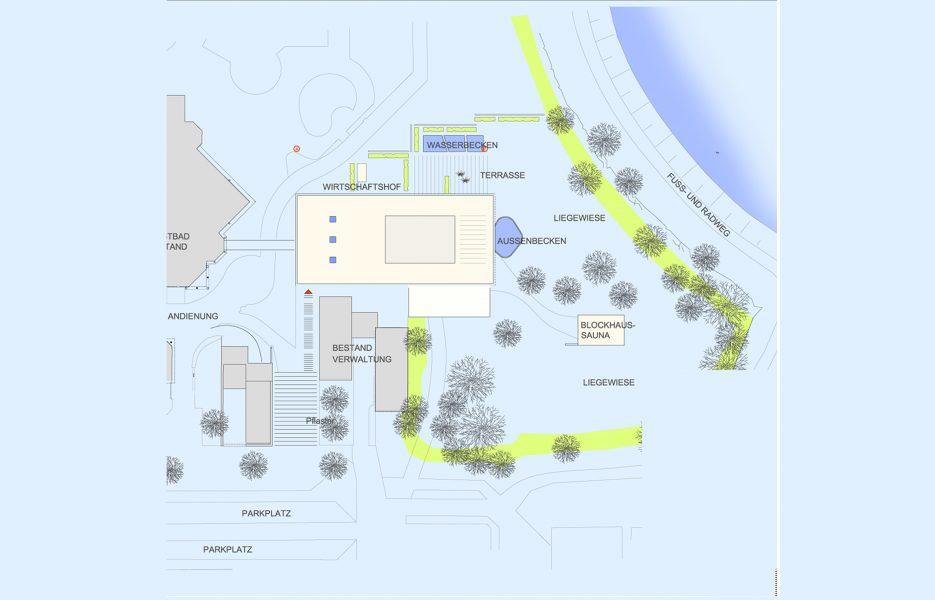 Saunalandschaft Westbad Regensburg_Lageplan